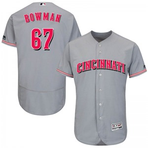 Youth Majestic Cincinnati Reds Matt Bowman Gray Flex Base Road Collection Jersey - Authentic